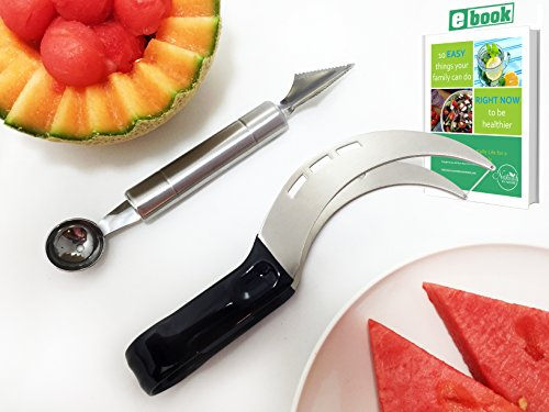 Stainless Steel Melon Slicer, Watermelon Slicer, Fruit Cutter, Melon Baller & Carving Kit, by Dynamic Chef