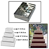 Set of 4 Tier Rectangle Multilayer Birthday Wedding Anniversary Cake Tins / Pans / Mould by Falcon