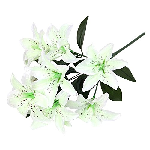 1-X-WHITE-Large-Tiger-Lily-9-Silk-Flowers-Bush-Bouquet-Artificial