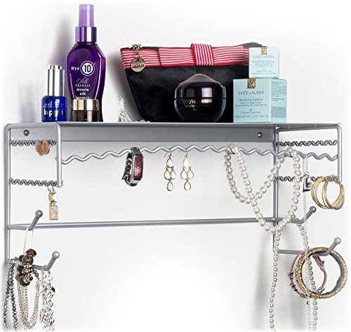 """UPC 842212005714, Silver 17"""" Wall Mount Jewelry & Accessory Storage Rack Organizer Shelf for Earrings, Bracelets, Necklaces, & Hair Accessories"""