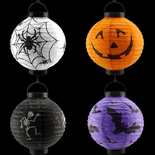4 Pcs Halloween Holiday Party Decoration,LED Paper Pumpkin Ghost Hanging Lantern Light Skeletons Spiders Bats Haunted Holiday Party