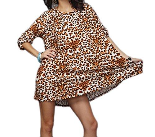 Coolred-femmes Vogue Autour Du Cou Robe Chemise Taille Plus Ajustement Lâche T-shirts Deux