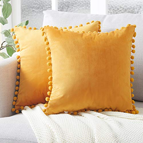 Top Finel Decorative Throw Pillow Covers with Pom Poms Soft Particles Velvet Solid Cushion Covers 16 X 16 for Couch Bedroom Car, Pack of 2, Mustard Yellow