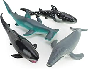 Boley 4 Piece Soft Whale and Shark Figure Toys - Realistic Humpback Whale, Hammerhead, Great White, and Whale Shark Figurines - Educational Ocean Creature Toys for Kids, Children, Toddlers
