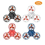 UK BONITOYS Bonitoys 2018 Novelty Flying Fidget Spinner, Anti-Anxiety ADHD Relieving Reducer Interactive Toys Outdoor for Adults Kids, Black, White, Red and Blue Color