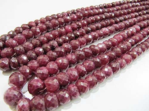 SALE Big Size Ruby Beads 10 Pieces, Rondelle Micro Faceted Sizes available 5 to 6 mm , Precious Corundum Ruby in Wholesale Rates