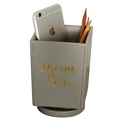 amazon com tinton life pu spinning desk organizer pen holder