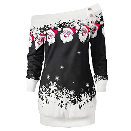 BCDshop Christmas Top, Women Christmas Xmas Santa Snowflake