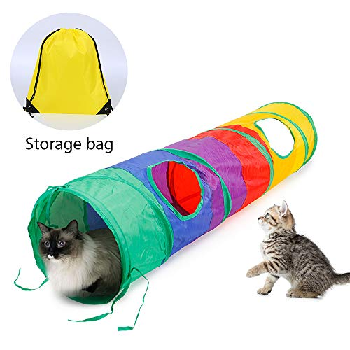 Ace one Cat Tunnel Pet Tube Collapsible Play Toy Indoor Outdoor Kitty Toys for Puzzle Exercising Hiding Training and Running with Fun Ball and 2 Peek Hole (Pet Nylon Tunnel)
