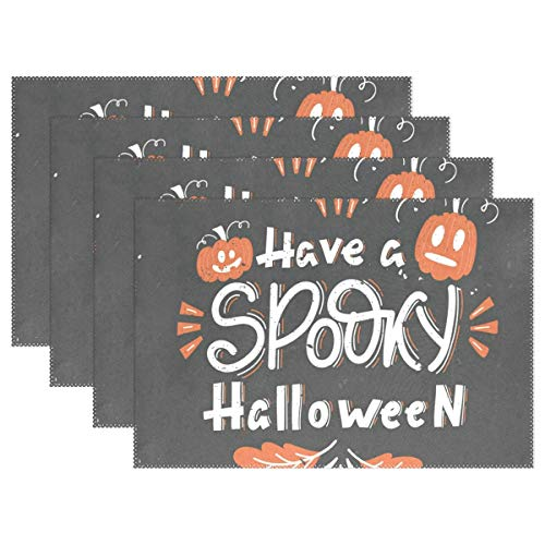 NMCEO Place Mats Have Spooky Halloween Pumpkins Oak Leaves Personalized Table Mats for Kitchen Dinner Table Washable PVC Non-Slip Insulation Set of 4