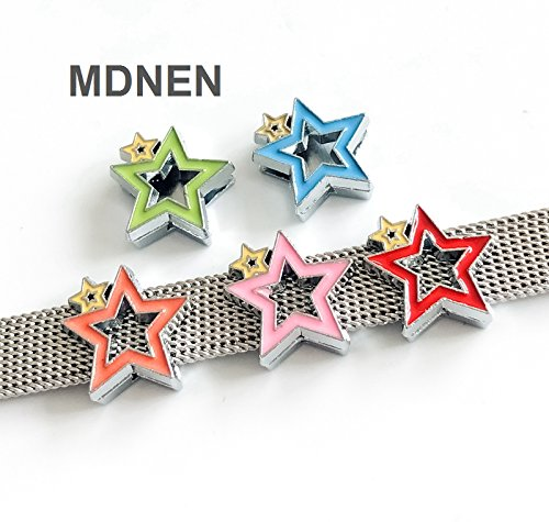 50PCS 8MM Enamel Colorful Star Slide Charms Letters DIY Accessories Fit 8mm Belts (Star Slide Charm)