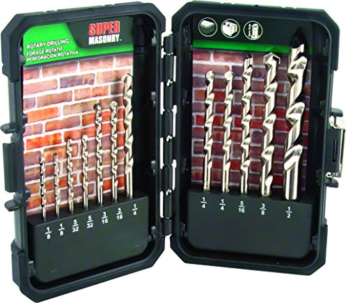 3 Piece Rotary Masonry - MIBRO 895080 Super Masonry Slow Spiral Rotary Drill Bit Set, 12 Pieces