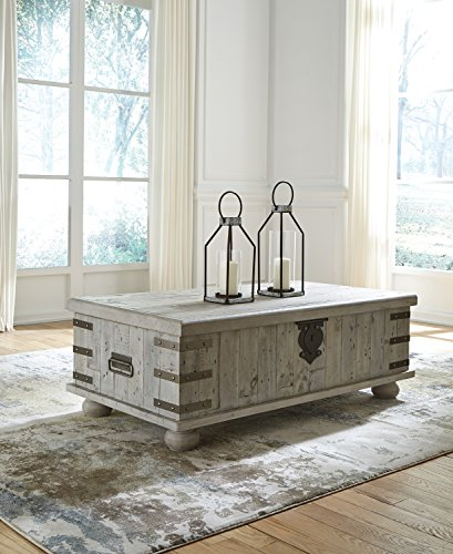 Ashley Furniture Signature Design T757-9 Carynhurst Lift Top Cocktail Table White Wash Gray