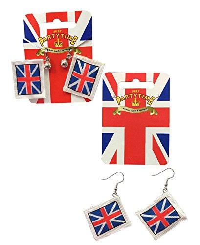 Union Jack Flag Silver Plated Hooks Royal Wedding Ceremony England Flag Earrning ()
