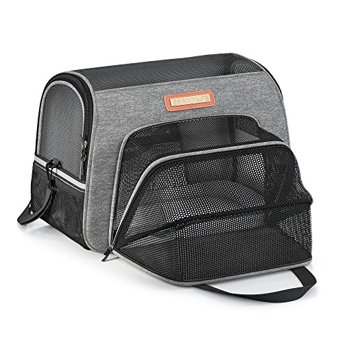 Expandable Pet Carrier Airline Approved Premium Under Seat for Dogs and Cats - Soft Sided Portable Airplane Travel Tote Bag Backpack with 2 Fleece Pads and Storage Case (Charcoal Gray Expandable)