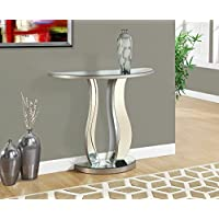 36L BRUSHED SILVER MIRROR CONSOLE TABLE