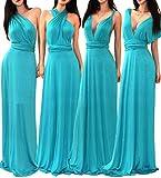 VIVICASTLE Women's Multi Way Wrap Convertible Infinity Long Maxi Dress (Small, Jade)