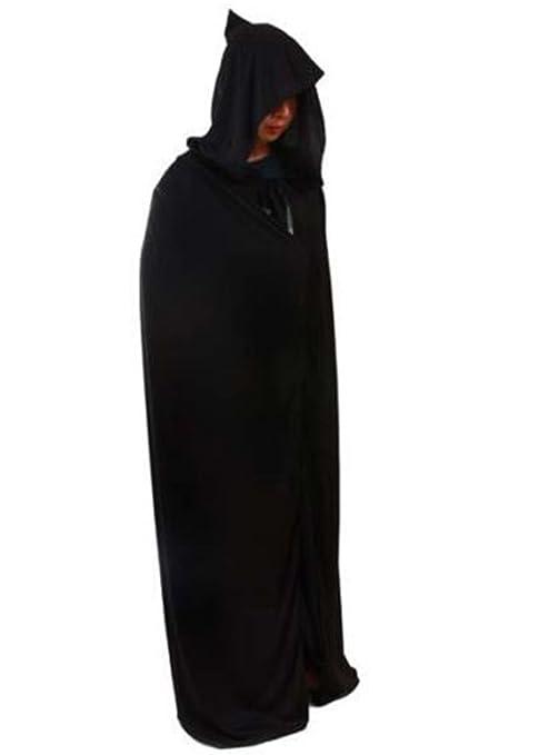 HuntGold - Capa larga con capucha para disfraz, color negro