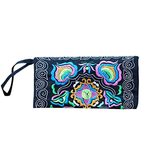 Wallet,toraway Women Ethnic Handmade Embroidered Wristlet Clutch Bags Vintage Purse (Black)