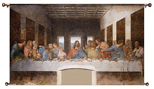 The Original Last Supper by Leonardo da Vinci Picture on Large Canvas Hung on Copper Rod, Ready to Hang, Wall Art Décor (The Last Supper Leonardo Da Vinci Original)