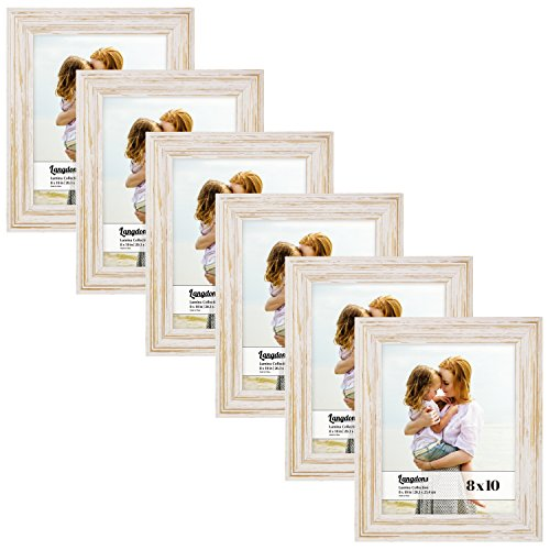 Pictures Natural Gold (Langdons 8x10 Real Wood Picture Frames (6 Pack, Weathered White - Gold Accents), White Wooden Photo Frame 8 x 10, Wall Mount or Table Top, Set of 6 Lumina Collection)