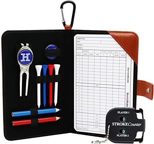 Handy Picks Golf Scorecard Holder n Yardage Book Cover in Genuine Leather - Divot Repair Tool, Ball Marker, Golf Tees, Pencil n Scorecards, Scorer Included, Gift for Golfers (Light Brown) - Leather Golf Ball Holder