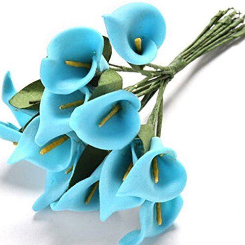 Long Calla Pink Stem Lilies (MEIBY Artificial Flowers, 12pcs/set wholesale fake flower simulation real natural artificial Calla Lily Paniculata Flowers for Table Decoration Wedding Bouquets 10 Colors (Blue))