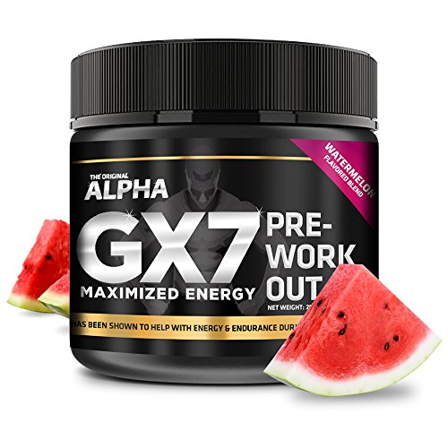 Red Leaf (Alpha Gx7 Pre Workout Powder - Energy Drink for Workouts 245g - 30 Servings Watermelon Flavor)