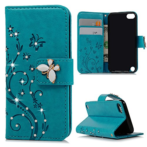 Touch 6 Case, iPod 5 Case – Mavis's Diary 3D Handmade Wallet Bling Crystal Diamonds Fashion Embossed Butterfly Floral PU Leather Card Sets Magnetic Co…