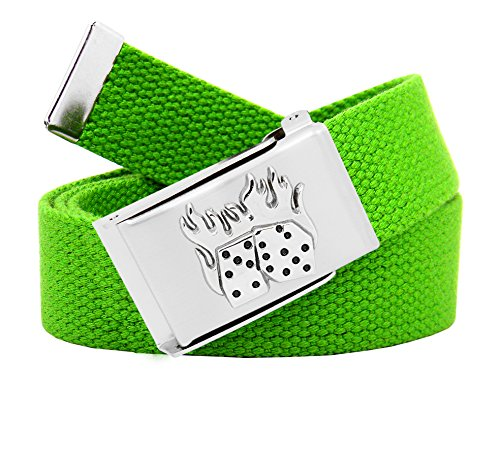 Men's Flaming Dice Silver Flip Top Military Buckle with Canvas Web Belt Medium Kelly Green (Dice Belt Buckle)