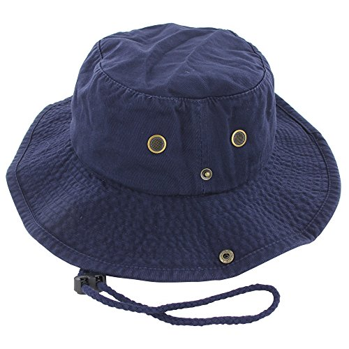 100% Cotton Boonie Fishing Bucket Hat with String, Navy, L/XL ()