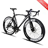VTSP XC700 Road Bike Red Road Bicycle For Man 54CM 700C 14 Speeds Mechanical Disc Brakes Bicycle Birthday Gifts For Man (black) VISP