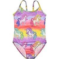 Jxstar Girls Collared Long Sleeve Shirt Shorts Unicorn Pattern Rash Guard
