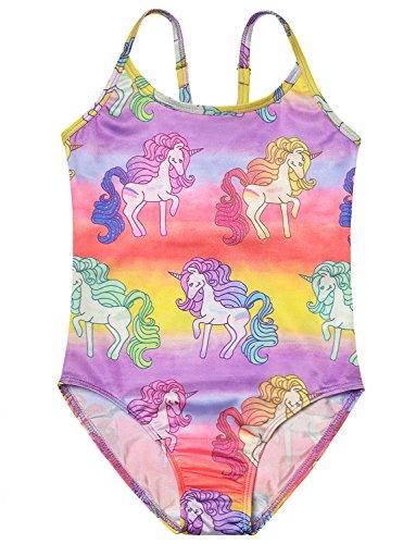One Piece Swimsuits Girl Little Kids Cute Unicorn Swimwear American Rainbow, 4-5Years/Height:43in, Rainbow Unicorn