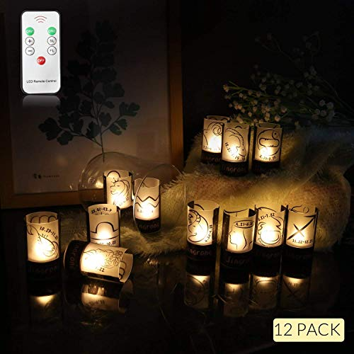 Tea Lights, Flameless LED Tea Lights Candles with Remote Control,Warm Amber, Ideal for Wedding, Party, Christmas, Holidays, Home Decoration and Outdoor, Pack of 12 -