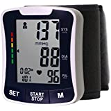 LotFancy Automatic Digital Wrist Blood Pressure Monitor with Case, Irregular Heart Rate Detector, 30x4 Memories for 4 Users, WHO Indicator, FDA Approved, Large LCD (NO Talking Function)