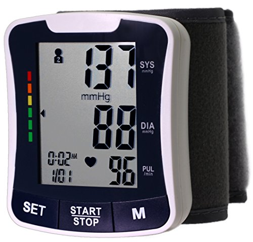 LotFancy Wrist Blood Pressure Cuff Monitor with Case - Automatic Digital BP Machine with Irregular Heartbeat Detector - Most Accurate & Portable for Home Use, 4 User Mode, FDA Approved (Wrist Blood Pressure Cuff Black compare prices)
