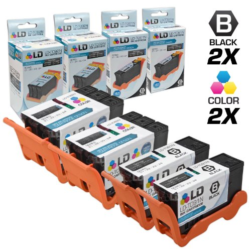 UPC 843964080318, LD © Compatible Set of 4 (Series 22) High Yield Black & Color Ink Cartridges for the Dell P513w, V313, V313w Printers: 2 Black T091N, 2 Color T092N