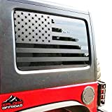 Jeep Wrangler | Precut USA Flag Window Decals | Matte Black American Vinyl for Rear Side Window JKU 2007 - 2017 | Includes Pair | Cut To Shape / No Trimming Required + Free Installation Tool (4 Door)