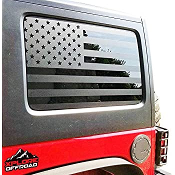3d10806d Jeep Wrangler | Precut USA Flag Window Decals | Matte Black American Vinyl  for Rear Side Window JKU 2007 - 2017 | Includes Pair | Cut To Shape / No  Trimming ...
