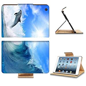 Dolphin Ocean Waves Blue Jumping Sea Sunlight Alone Tidal Animal Apple Ipad Mini Flip Case Stand Smart Magnetic Cover Open Ports Customized Made to Order Support Ready Premium Deluxe Pu Leather 8 Inch (205mm) X 5 1/2 Inch (140mm) X 11/16 Inch (17mm) Lux