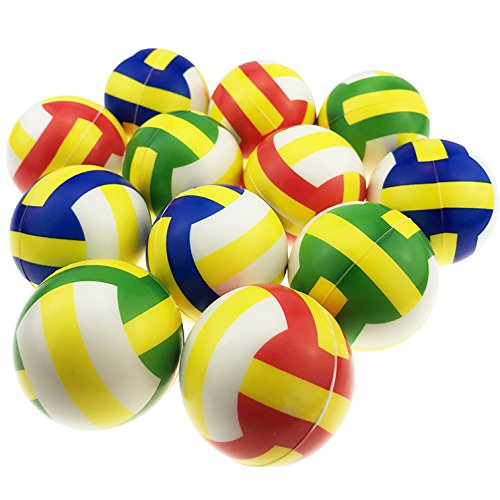 Akusety Mini Sports Stress Balls Volleyballs Fun, 12-Pack Foam Ball 2.5 Relaxable Stress Relief Squeeze Balls
