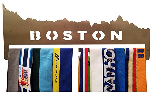 Runner's Goal Marathon Medal Holders for Runners Race Medals Display Rack for Runner & Triathlon - Running Medal Hanger with Heavy Duty Stainless Steel Construction (Boston)