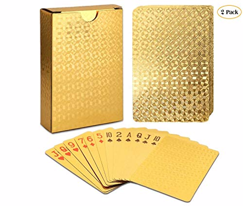 ALI Poker Cards Plastic Golden Playing Cards Luxury Gold Foil Diamond Deck of Cards, 100% Waterproof, Standard Size, 2-Pack