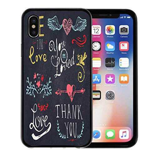 (Emvency Phone Case for Apple iPhone Xs Case/iPhone X Case,Color Chalk Wedding and Valentine Day Doodle Floral Ornaments Soft Rubber Border Decorative, Black)