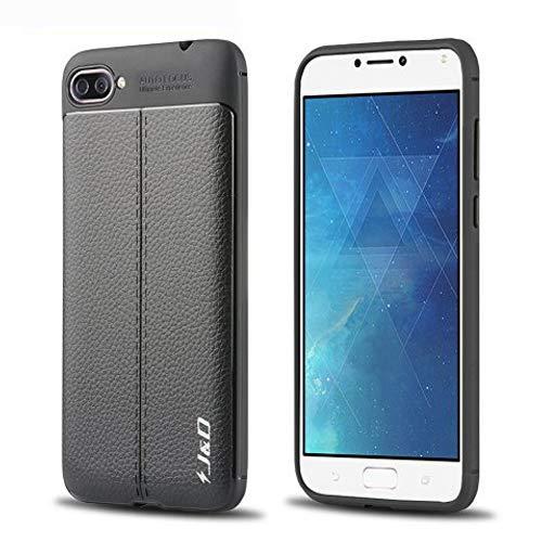 J&D Case Compatible for ZenFone 4 Max Case, [Anti-Scratch] [Leather Texture Pattern] Shock Resistant Protective Rubber TPU Slim Case for ASUS ZenFone 4 Max ZC520KL (5.2in) Bumper Case - Black