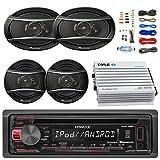Kenwood KDC168U Car Radio USB AUX CD Player Receiver - Bundle With 2x TSA1676R 6.5'' 3-Way Car Audio Speakers - 2x 6.5''-6.75'' 4-Way Stereo Speaker + 4-Channel Amplifier + Amp Kit