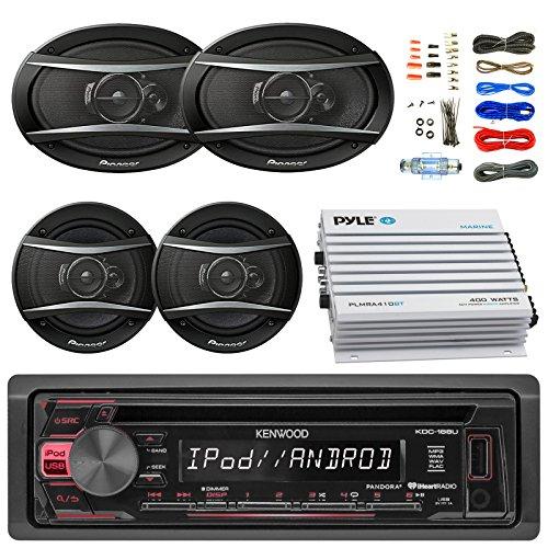 Speakers Car Stereo Discount - Kenwood KDC168U Car Radio USB AUX CD Player Receiver - Bundle With 2x TSA1676R 6.5