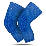 RoryTory Padded Compression Legs Sleeves Knee Pads Brace Support for Basketball Football Volleyball Baseball Soccer Tennis Sports Protection Men Women Adults - (1 Pair) Small Size | Blue Mesh