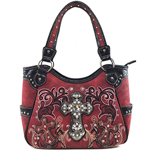 West Crossbody Carry Rhinestone Handbag Western Wallet Messenger Bag Purse Studded Cross Concealed Tote Justin Embroidery Red Purse Floral Trifold Cowgirl OqfwOd